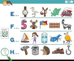 primera letra de una palabra juego educativo de dibujos animados para niños vector