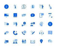 conjunto de iconos de información y soporte vector