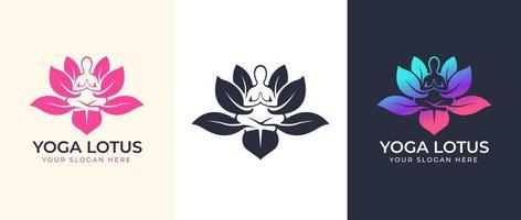 Yoga meditation with lotus flower logo design vector