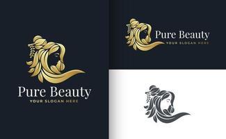 woman hair leaf salon gold gradient logo design vector