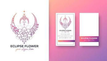 eclipse flower logo design vector