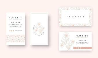 minimal Floral logo with business card template vector