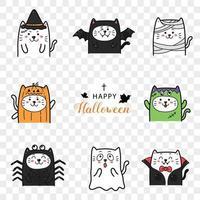lindo gato en la colección de dibujos animados de disfraces de halloween. vector