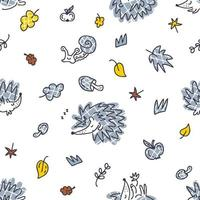 Multicolor vector seamless autumn pattern with checkered hedgehogs