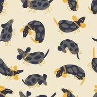 Seamless vector pattern of spotted black dachshunds