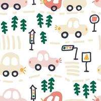 Tender seamless pattern of traffic cars and christmas trees vector