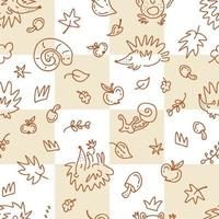 Autumn seamless pattern of hedgehogs on a checkered background vector