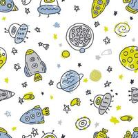 Vector seamless pattern of rockets and planets in space