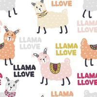 Seamless vector pattern of lamas and text LLAMA LLOVE