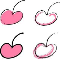 Doodle style cherries berries collection vector