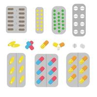 A set of tablets and capsules in blisters vector