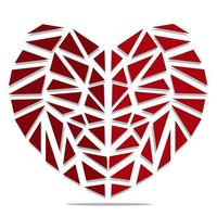 Broken red heart on the set of triangles vector