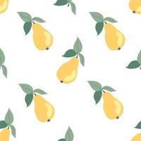 Seamless pattern with pears on a white background vector
