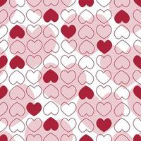 Background of red and white small and large hearts vector