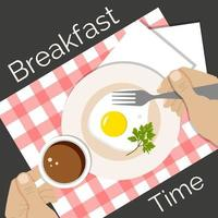 Fried egg, coffee on table, breakfast time vector