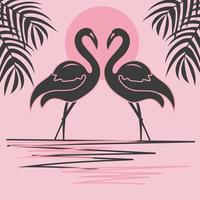 Two flamingos at sunset, pair of bird silhouettes vector