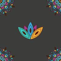 Colorful mandala and lotus pattern vector