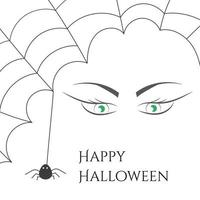 Cobweb with spider and witch green eyes. vector