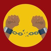 manos rompe esposas adecuadas para la abolición de la esclavitud ilustración vector