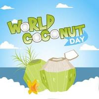world coconut day in flat design vector