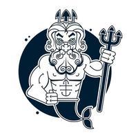 Poseidón clip art o logotipo, arte vectorial vector