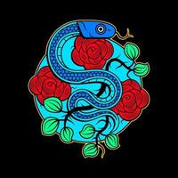 vector snake and skull tattoo design with banner