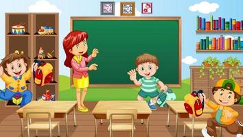 Classroom scene with a teacher and children vector