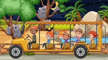 Koala group in Safari scene with children in the tourist car vector