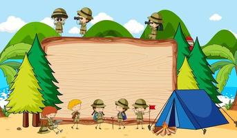 Empty blackboard in nature scene with many kids in scout theme vector