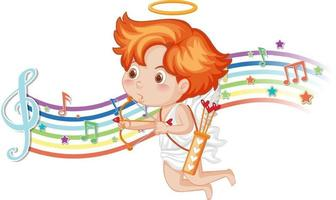 Cupid holding bow and arrow with melody symbols on rainbow vector