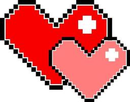 Red and pink pixel heart isolated vector