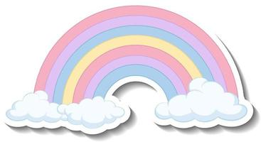 Isolated pastel rainbow with clouds cartoon sticker vector