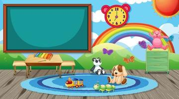 Empty kindergarten classroom interior with chalkboard and kid toys vector