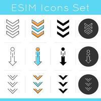 Desplazamiento hacia abajo y cargando conjunto de iconos de indicadores. vector