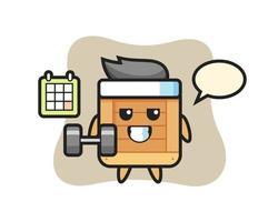 dibujos animados de la mascota de la caja de madera haciendo fitness con mancuernas vector