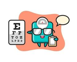 Illustration of weight scale mascot as an ophthalmology vector