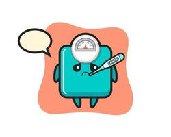 weight scale mascot character with fever condition vector
