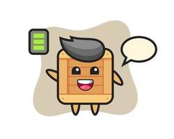 Personaje de mascota de caja de madera con gesto enérgico. vector