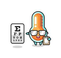 Illustration of thermometer mascot as an ophthalmology vector