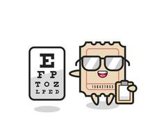 Illustration of ticket mascot as an ophthalmology vector