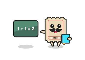 Illustration of ticket character as a teacher vector