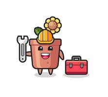 Mascot cartoon of sunflower pot as a mechanic vector