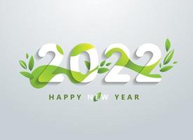 Happy 2022 new year with natural green leaves banner vector