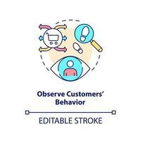 Observar el icono del concepto de comportamiento de los clientes vector