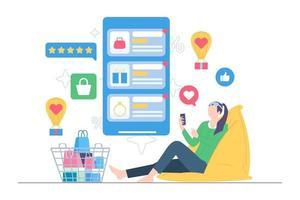 Happy online shopping add to wishlist illustration vector