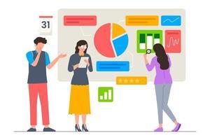 Business analysis by team scene illustration vector