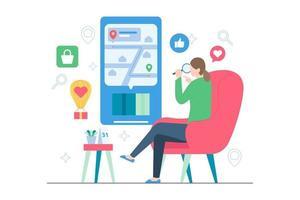 Online tracking order from online shop scene illustration vector