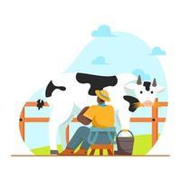 Farmer milking cow illustration vector