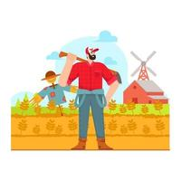 Farmer ready to farm in the field illustration vector