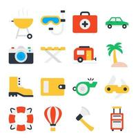 Pack of Travel and Tour Flat Icons vector